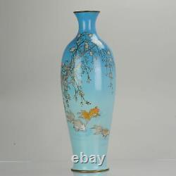Antique Bronze / Copper Enamel Cloisonne Vase Japan 19C Meiji Prunus Fis