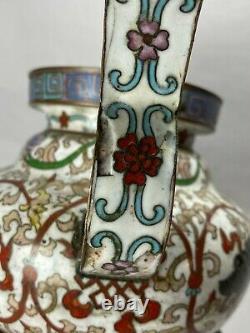Antique Chinese Japanese Bronze & Cloisonné Koro Incense Burner w Foo Dog Faces