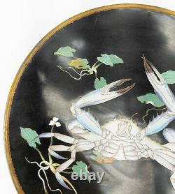 Antique Chinese Japanese Cloisonne Charger Art Deco Crab 20th Century