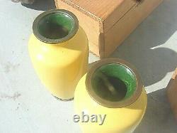 Antique Chinese Japanese Cloisonne Enamel Vases Cased Pair