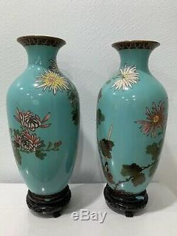Antique Chinese or Japanese Pair of Cloisonne Vases with Birds & Floral Decoration