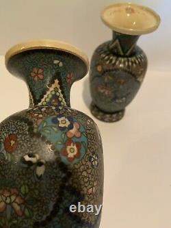 Antique EARLY 1900s Cloisonné on Porcelain PAIR Vases