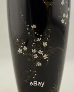 Antique Hayashi Meiji-Period Japanese Cloisonne floral & bird baluster vase