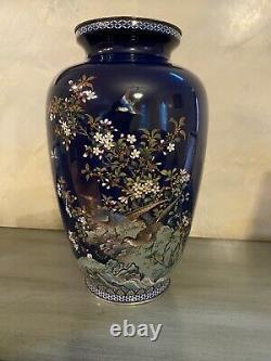 Antique JAPANESE MIDNIGHT BLUE CLOISONNE VASE- SILVER RIMS, Signed Ando