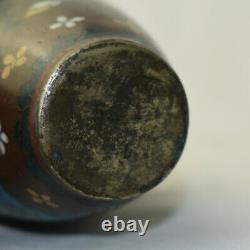 Antique Japan Meiji Cloisonne Vase Enamel Mica Metallurgy Japanese Tapestry Art