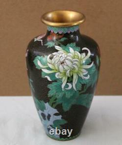 Antique Japanese 9.5 Black Cloisonne Vase with Multiple Floral & Leaf Designs