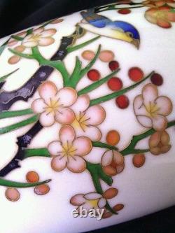 Antique Japanese Ando Jubei cloisonne Cherry Blossom Bamboo vase 7.5 ca. 1910