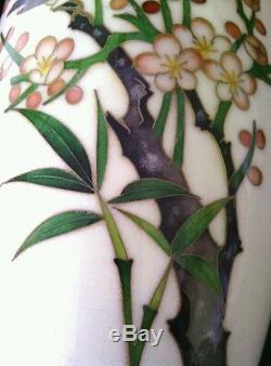 Antique Japanese Ando Jubei cloisonne Cherry Blossom Bamboo vase 7.5 ca. 1910