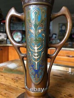Antique Japanese Bronze Cloisonne Vase
