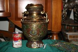 Antique Japanese Champleve Urn Vase Dragon Handles Intricate Designs Brass Metal