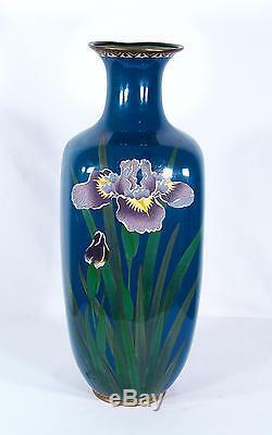 Antique Japanese Cloisonne Champleve Enamel Irises Vase Meiji Period