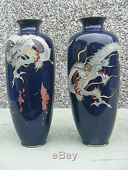 Antique Japanese Cloisonne Dragon Vases High Quality