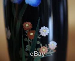 Antique Japanese Cloisonne Enamel POLYCHROME vase Meiji Japon 19th