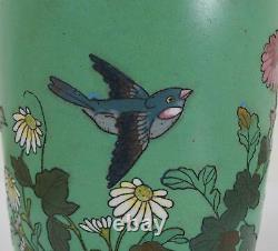 Antique Japanese Cloisonné Enamel Vase Decorated with Flying Birds and Flowers