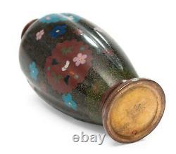 Antique Japanese Cloisonne Enamel Vase with Floral Roundels Kyoto Design