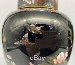 Antique Japanese Cloisonne Enamel Vases Covered Jars Pair