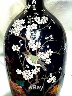 Antique Japanese Cloisonne, Flowers and Bird, Huge 12