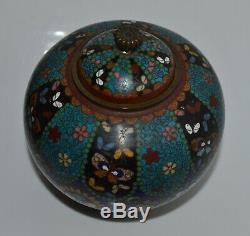Antique Japanese Cloisonne Footed Jar Censer Cover Meiji