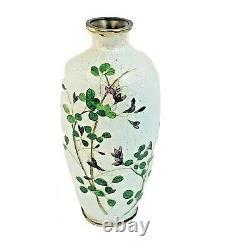 Antique Japanese Cloisonne Ginbari Foil Vase Meiji Period by Matsu-Ya 5 Tall