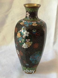Antique Japanese Cloisonne, Golden wires, Flowers, Meiji Period