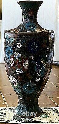 Antique Japanese Cloisonne HEXAGONAL Vase. 7.5 x 3.25
