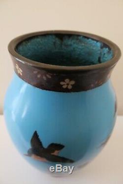 Antique Japanese Cloisonné Large Vase Meiji Period Bird Blossom Butterfly, 26cm