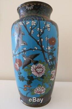 Antique Japanese Cloisonné Large Vase Meiji Period Birds & Blossom, 11in/28cm