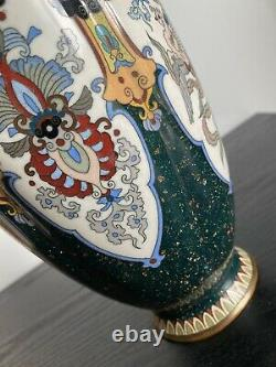 Antique Japanese Cloisonne Lobed Vase Large Fine Wire 30 Cm