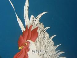Antique Japanese Cloisonne Plate Cockerel / Rooster
