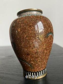 Antique Japanese Cloisonne Scholars Vase Gold Stone Ground Meiji 19th C