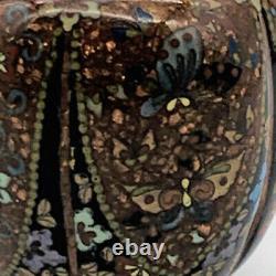 Antique Japanese Cloisonné Tri Footed Lidded Jar Meji Period Circa 1860