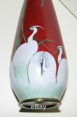 Antique Japanese Cloisonne Vase By Ota Tameshiro Red With White Birds
