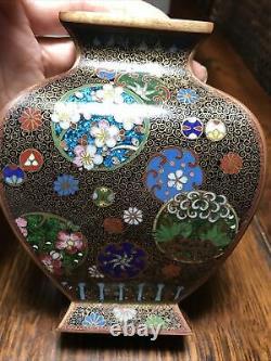 Antique Japanese Cloisonne Vase Ginbari Foil Meiji