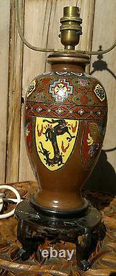 Antique Japanese Cloisonne Vase Lamp Dragon Bird & Floral Designs