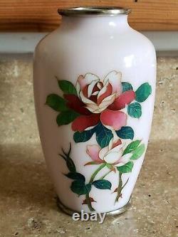 Antique Japanese Cloisonne Vase Pink Flowers Art