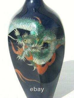 Antique Japanese Cloisonne Vase Silver Signed