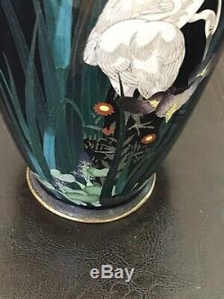 Antique Japanese Cloisonne Vase w Bird/ Crane And Iris Flowers In Navy Blue