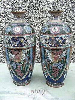 Antique Japanese Cloisonne Vases Meji Period