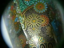 Antique Japanese Cloisonne Vases Pair Hexagonal Rare High Quality
