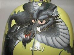 Antique Japanese Cloisonne Vases Yellow with Dragons