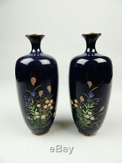 Antique Japanese Cloisonne vase pair