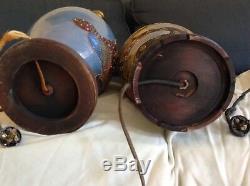 Antique Japanese Design Cloisonne Vase 2 Socket Table Lamps Victorian Era