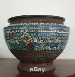 Antique Japanese Egyptian Revival Cloisonne Enamel Bronze Jardiniere