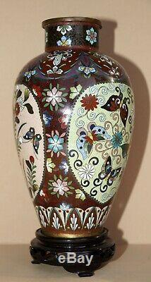 Antique Japanese Ginbari Cloisonne 3-Panel Vase with Stand