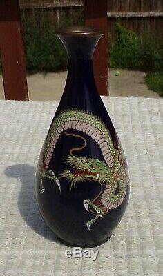 Antique Japanese Ginbari Cloisonne Three Clawed Dragon Cabinet Vase 4.75 Tall