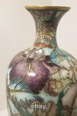 Antique Japanese Ginbari Foil Wire Cloisonne Brass Vase