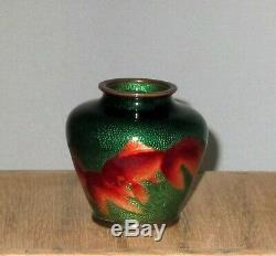 Antique Japanese Ginbari Miniature Cloisonne Enamel Vase with Koi Excellent