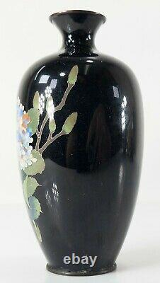 Antique Japanese High Quality Cloisonne Cabinet Vase Hydrangea Gilt Copper Body