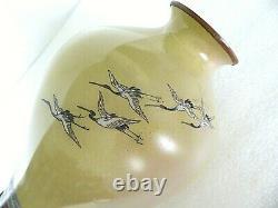 Antique Japanese Meiji Cloisonne Enamel Imperial Yellow 10 Crane Fishing Vase