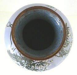 Antique Japanese Meiji Cloisonne Enamel Lilac Blue Wisteria Birds 12 Large Vase